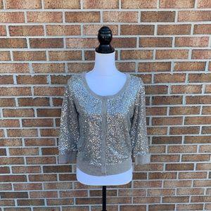 New Taupe Sequin Accent Cardigan Sweater Medium